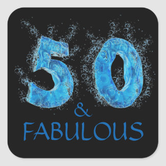 Sticker Carré 50 et anniversaire de natation fabuleuse de nageur