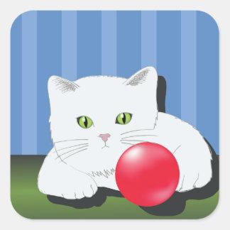 Sticker Carré 63White Cat_rasterized