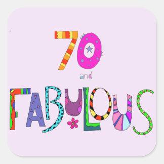Sticker Carré 70 et soixante-dixième anniversaire fabuleux