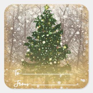 Sticker Carré À de fête de vacances de Joyeux Noël/de