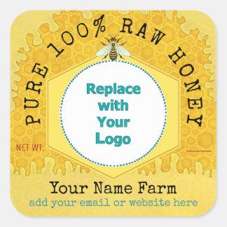 Sticker Carré Abeille de nid d'abeilles du logo | de rucher de