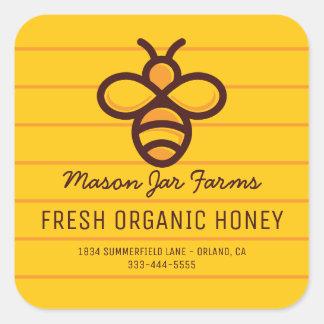 Sticker Carré Abeille moderne personnalisée de nid d'abeilles du