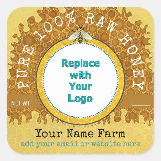 Sticker Carré Abeille V2 de nid d'abeilles du logo | de rucher