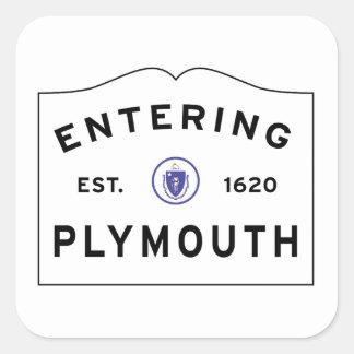 Sticker Carré Accueillez au signe de ville de Plymouth mA