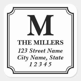Sticker Carré Adresse classique moderne de monogramme de couleur