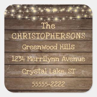 Sticker Carré Adresse de retour rustique de lumières en bois et