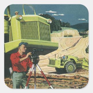 Sticker Carré Affaires vintages, chantier de construction avec