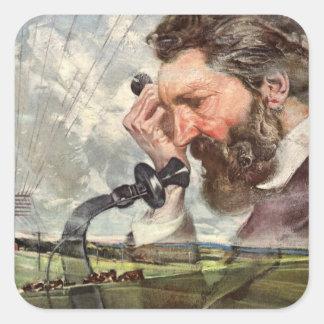 Sticker Carré Affaires vintages, téléphone d'Alexander Graham
