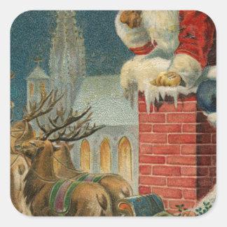 Sticker Carré Affiche 1906 clous de Père Noël de cru original