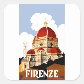 Sticker Carré Affiche 1930 de voyage de Duomo de Florence Italie