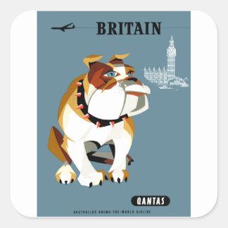 Sticker Carré Affiche 1960 de voyage de bouledogue de Qantas