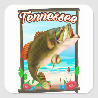 Sticker Carré Affiche de pêche du Tennessee