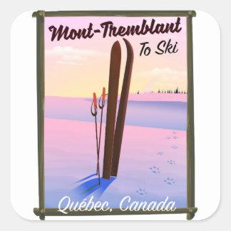 Sticker Carré Affiche de ski de Mont-Tremblant Québec