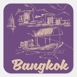 Sticker Carré Affiche de voyage de Bangkok, Thaïlande