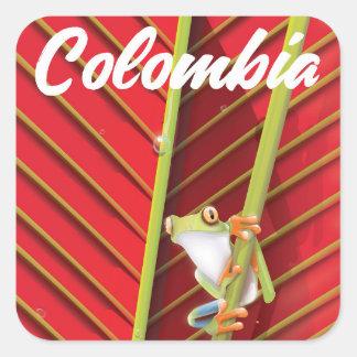 Sticker Carré Affiche de voyage de grenouille d'arbre de la