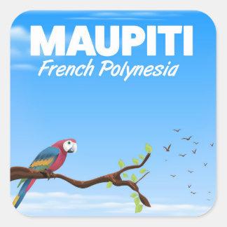Sticker Carré Affiche de voyage de Maupiti Polynésie française