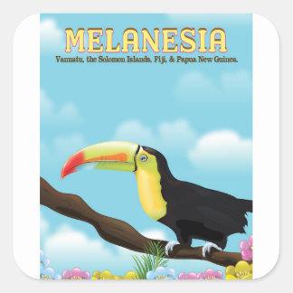 Sticker Carré Affiche de voyage de toucan de la Mélanésie