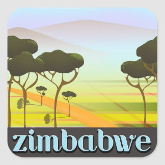 Sticker Carré Affiche de voyage de vacances du Zimbabwe