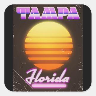 Sticker Carré Affiche de voyage du cru 80s de Tampa la Floride