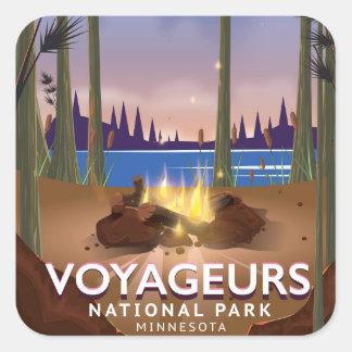 Sticker Carré Affiche de voyage du Minnesota de parc national de