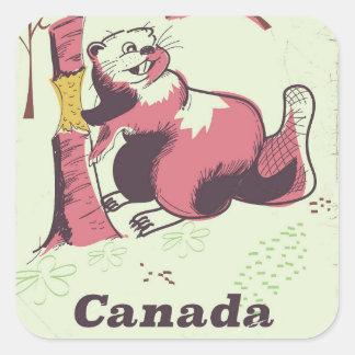 Sticker Carré Affiche vintage de voyage de castor du Canada