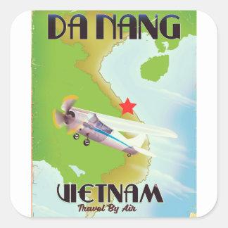Sticker Carré Affiche vintage de voyage du Vietnam de Da Nang