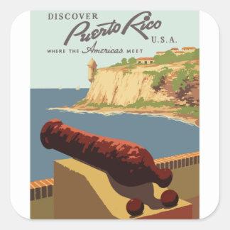 Sticker Carré Affiche vintage Porto Rico de voyage