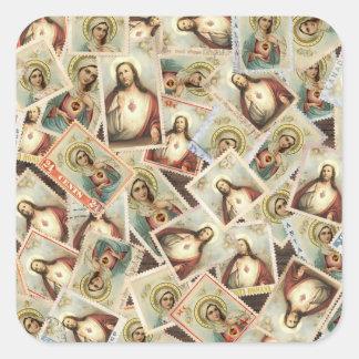 Sticker Carré Affranchissement sacré béni de coeur de Vierge