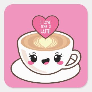 Sticker Carré Aimez-vous un Latte EMoji