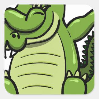 Sticker Carré Alligator tamponnant d'animaux