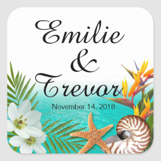 Sticker Carré Aloha Frangipani de Plumeria de mariage de plage