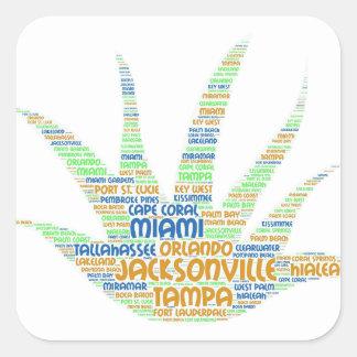 Sticker Carré Alove Vera illustrée avec des villes de la Floride