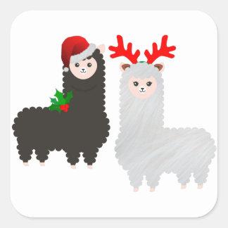 Sticker Carré alpaga de renne de Noël