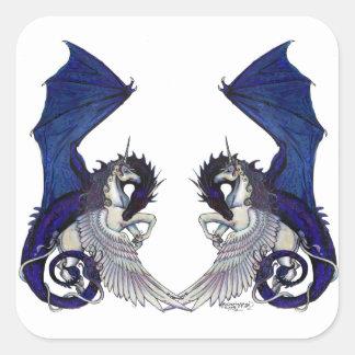 Sticker Carré Amants de licorne et de mariage de dragon