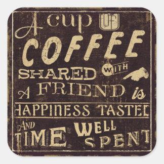 Sticker Carré Amis et café