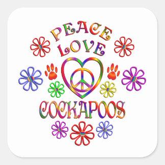 Sticker Carré Amour Cockapoos de paix