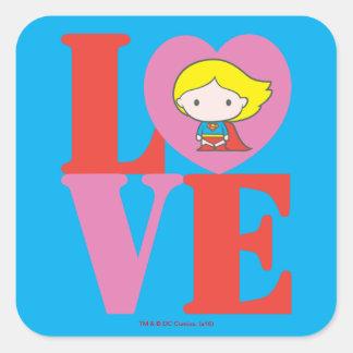 Sticker Carré AMOUR de Chibi Supergirl