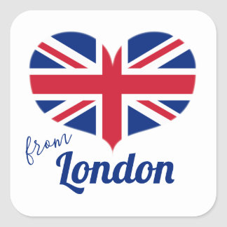 Sticker Carré Amour de drapeau BRITANNIQUE en forme de coeur
