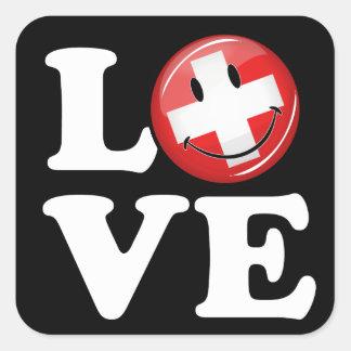 Sticker Carré Amour de drapeau de sourire de la Suisse