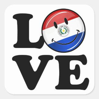 Sticker Carré Amour de drapeau de sourire du Paraguay