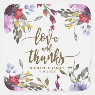 Sticker Carré amour de fleur sauvage et mariage floraux