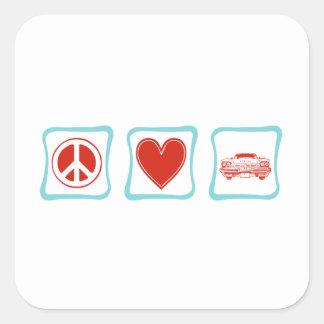 Sticker Carré Amour de paix et voitures classiques