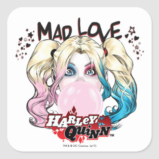 Sticker Carré Amour fol Harley Quinn de Batman | mâchant le