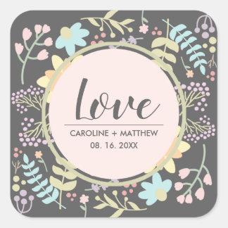 Sticker Carré Amour. La coutume florale moderne appelle des