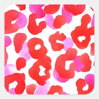 Sticker Carré Amour sauvage de rouge d'ethno de jaguar
