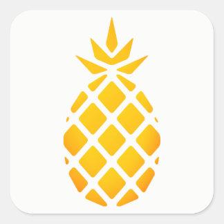Sticker Carré Ananas d'or de Hawaïen de pochoir