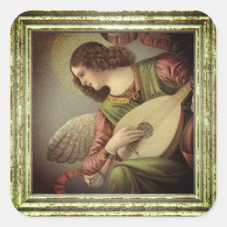 Sticker Carré Ange avec la mandoline