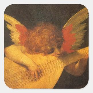 Sticker Carré Ange de musicien d'art de Renaissance par Rosso