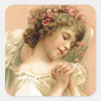 Sticker Carré Ange de prière de Noël vintage