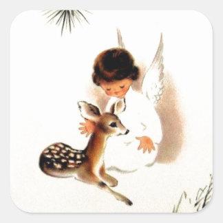 Sticker Carré Ange vintage de Noël avec des cerfs communs de